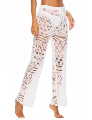 Drawstring High Waisted Crochet Straight Pants White