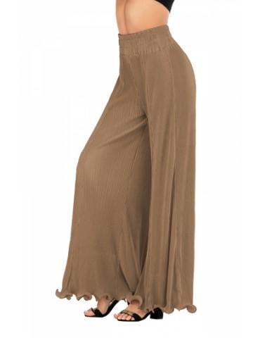 High Waisted Plain Ruffle Hem Bell Bottom Pants Brown