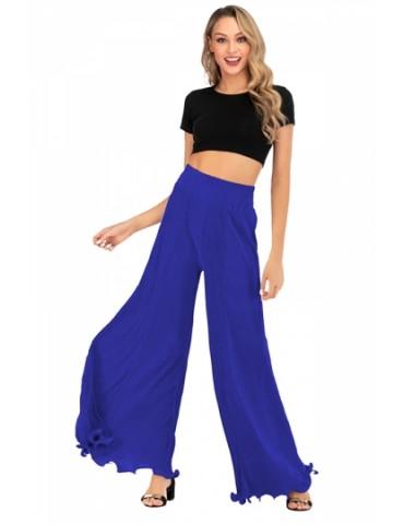 High Waisted Plain Ruffle Hem Wide Leg Pants Blue