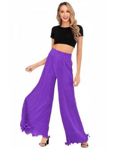 High Waisted Plain Ruffle Hem Wide Leg Pants Purple