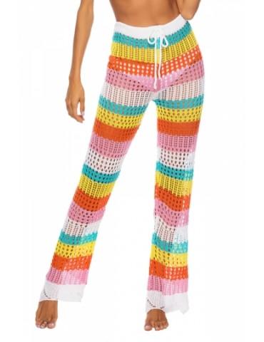 Drawstring Color Striped Crochet Straight Pants