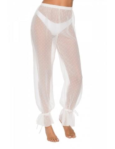 Elastic Waist Cinched Mesh Sheer Dot Pants White