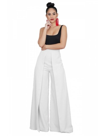 Fashion High Waisted Loose Plain Wide Leg Palazzo Pants White