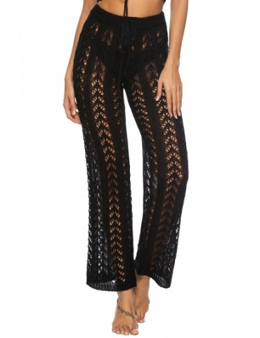 Drawstring Cut Out Crochet Plain Wide Leg Pants Black