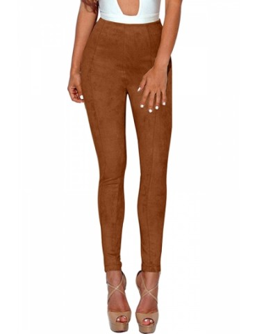 Faux Suede High Waisted Skinny Plain Pants Brown