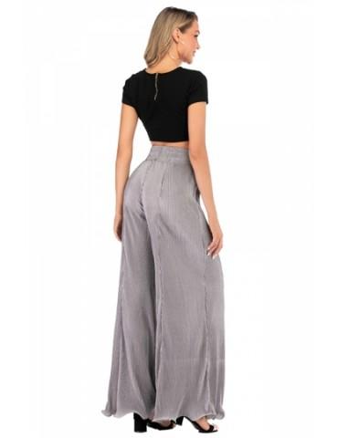 High Waisted Plain Ruffle Hem Wide Leg Pants Gray