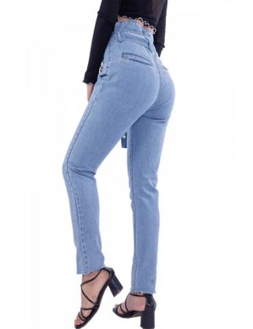 Skinny High Waisted Eyelet Belted Jeans Blue