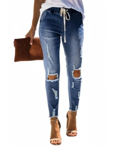 Drawstring Ripped Skinny Jeans Blue