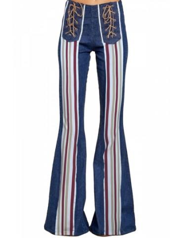 Lace Up Denim Flare Jeans Blue