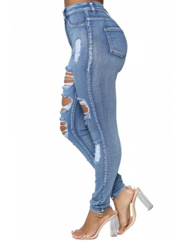 High Waisted Skinny Ripped Cut Out Jeans Blue