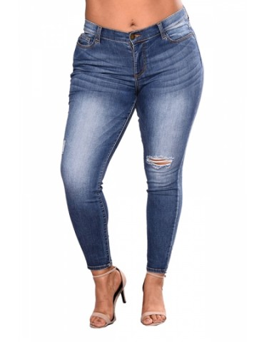 Plus Size Skinny Mid Rise Ripped Jeans Blue