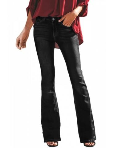 Fashion Button Side Pocket Bell Bottom Jeans Black