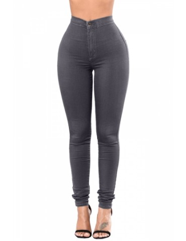 Fashion High Waist Skinny Stretch Plain Jeans Gray
