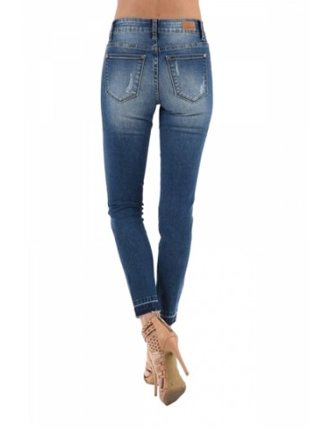 Skinny Ripped Leopard Print Patchwork Jeans Blue