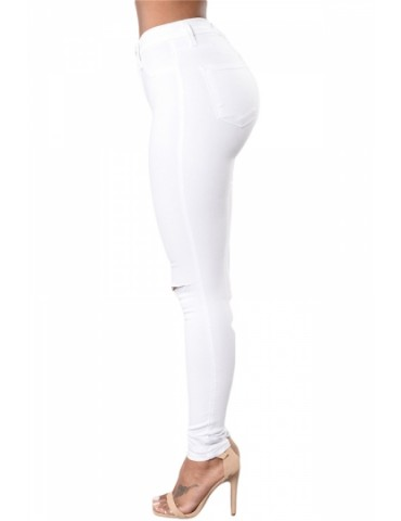 Fashion Mid Rise Knee Cut Out Plain Skinny Stretchy Jeans White
