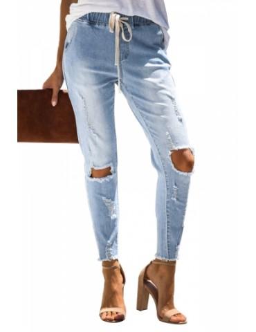 Skinny Ripped Jeans For Women Light Blue