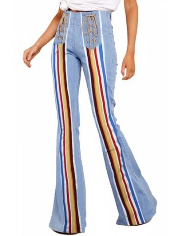 Color Striped Flare Jeans Light Blue