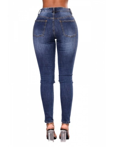 Plus Size Mid Rise Ripped Cut Out Pearls Jeans Blue