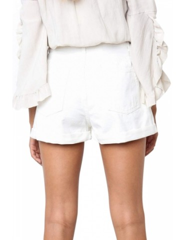 Denim High Waisted Folded Hem Shorts White