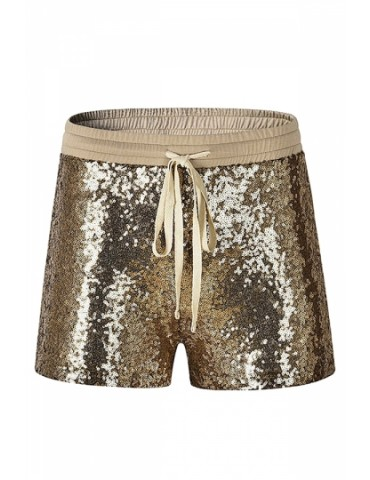 Fashion Elastic Drawstring Sequin Plain Shorts Gold