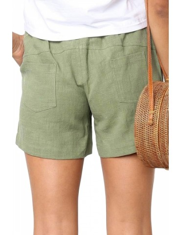 Casual Drawstring Plain Pocket Shorts Green