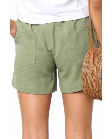 Casual Drawstring Plain Pocket Shorts Green