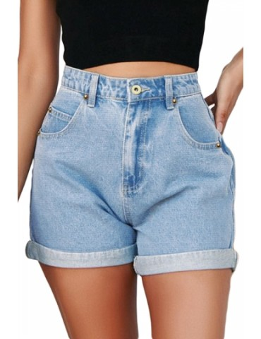 Denim Folded Hem High Waisted Shorts Light Blue