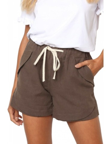 Casual Plain Pocket Drawstring Shorts Brown