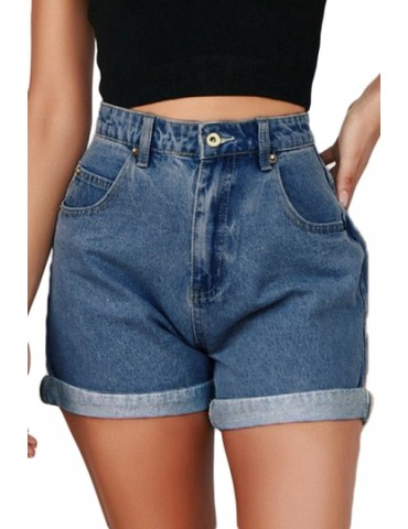 Denim High Waisted Folded Hem Shorts Blue