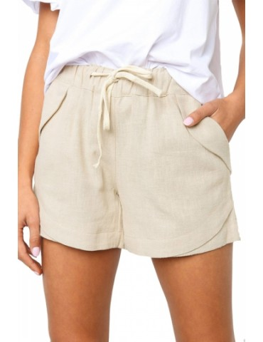 Drawstring Plain Pocket Casual Shorts Apricot