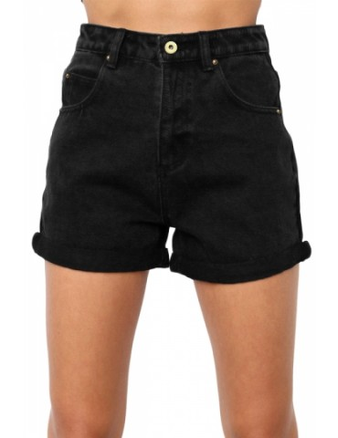High Waisted Folded Hem Denim Shorts Black