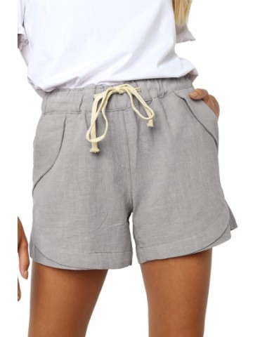 Drawstring Plain Casual Pocket Shorts Gray
