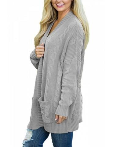 Plus Size Long Sleeve Plain Pocket Cable Knit Cardigan Gray