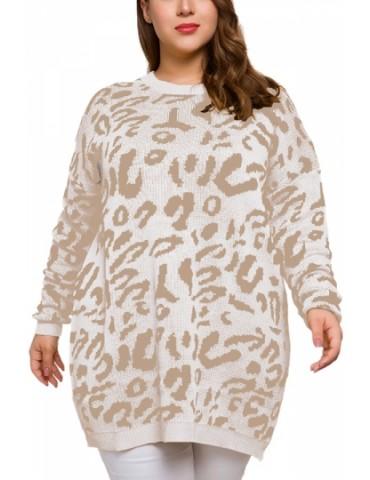 Plus Size Pullover Sweater Leopard Beige White