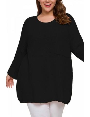 Plus Size Drop Shoulder Pullover Sweater Black