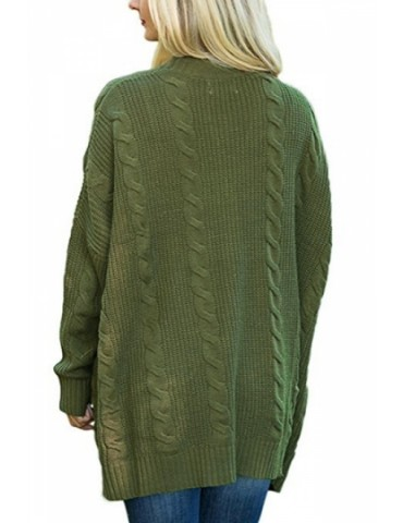 Plus Size Long Sleeve Pocket Plain Cable Knit Cardigan Olive