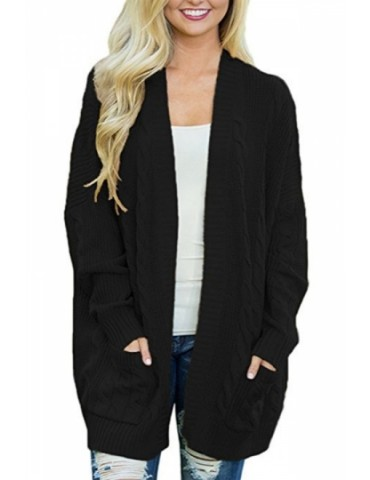 Plus Size Pocket Plain Long Sleeve Cable Knit Cardigan Black