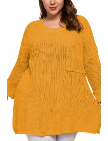 Plus Size Plain Pullover Sweater With Pocket Yellow