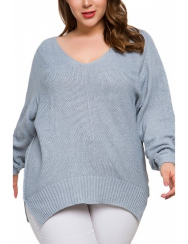 Plus Size Long Sleeve Knit Pullover Sweater Gray