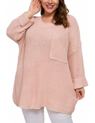 Plus Size Crew Neck Pullover Sweater Pink