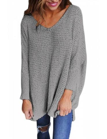 Plus Size V Neck Long Sleeve Loose Plain Sweater Gray