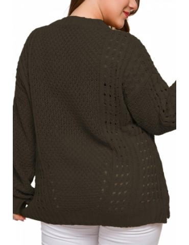 Plus Size Plain Pullover Sweater Olive