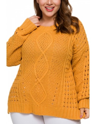 Plus Size Knit Pullover Sweater Cut Out Yellow