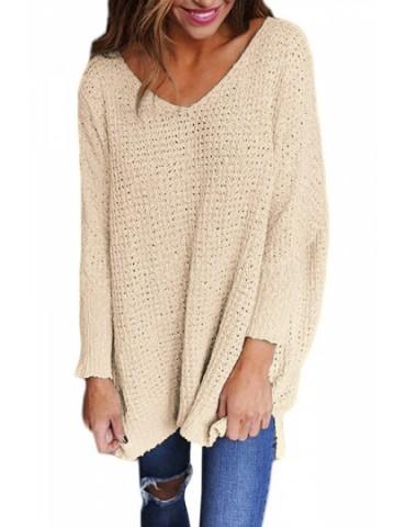 Plus Size V Neck Long Sleeve Loose Plain Sweater Apricot