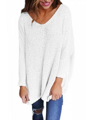Plus Size Long Sleeve Loose Plain V Neck Sweater White