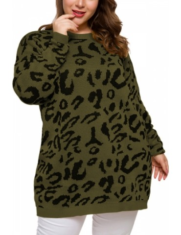 Plus Size Leopard Pullover Sweater Crew Neck Olive