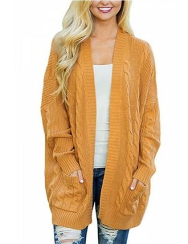 Plus Size Long Sleeve Pocket Plain Cable Knit Cardigan Yellow