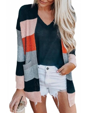 Color Block Cardigan With Pocket Red