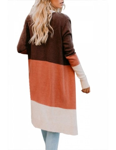 Cut And Sew Cardigan Loose Fit Orange