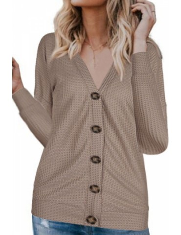 Button Front Cardigan Long Sleeve Khaki